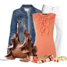 Orange and Brown Ruffles :) - INSPIRED: salmon top, denim jacket, carmel MAX bag, white capri, navy coral brown multi heel, navy shimmer bead necklace, gold jewelry