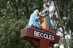 Beccles sign at the entrance to the town.