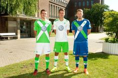 Wolfsburg Home, Away and Alternate Kits by Kappa International Soccer, Soccer Shop, Football Kits, Europa League, Soccer Players, Home And Away, Kappa, Volkswagen, Sports