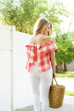gingham off the shoulder top | how to style an off the shoulder top | how to style white jeans | summer fashion | summer style | fashion for summer | style ideas for summer | warm weather fashion | fashion tips for summer || a lonestar state of southern