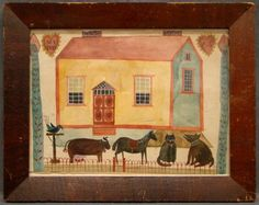 """Folk art watercolor on paper """"My Pets"""" featuring dog, cow, cat and dog in front of house. Also initialed """"AS"""". 9"""" x 12""""."""