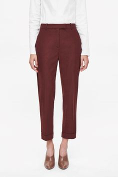 COS image 8 of Straight-leg wool trousers in Crimson