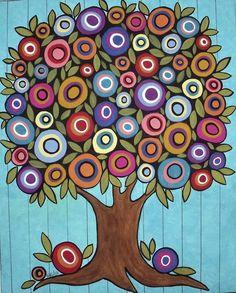 Folk Art Tree by Karla Gerard Karla Gerard, Tree Of Life Art, Folk Art, Abstract, Holiday Decor, Artist, Painting, Color, Summary
