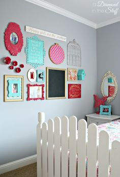 Girl's Room Gallery Wall with pink, aqua, and gold! So pretty!
