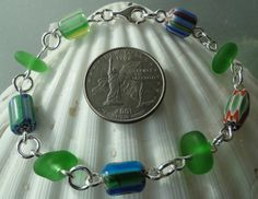 HL Sea Glass & Beach Glass Jewelry, colorful chevron trade bead sea glass bracelet.