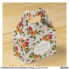 Wedding Bride Groom Elegant Vintage Chic Floral Favor Box