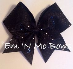 "3"" Black Sequins Cheer Bow on Etsy, $6.00"