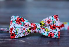 Boys Floral Gentle Pink Cotton Bow Tie, bowtie in infant, toddler, child, and preteen sizes, pre-tied and adjustable - pinned by pin4etsy.com
