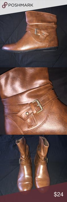 Lower East Side: Short Leather Boots Medium brown leather boot, Size 9.5 Women, buckle accent on the outside of both boots, leather strap goes al the way around the boot. Perfect condition, worn once. Height of boot is about 8 inches, hits right between the ankle and calf. Payless Shoes Ankle Boots & Booties
