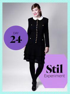 Das 40er Jahre-Kleid mit Bubikragen und goldenen Knöpfen sieht bei Veronika leider nach konservativer Stewardess-Uniform aus, als nach Fashionista.