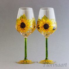 Sunflower Wedding Glasses Rustic Wedding Glasses Sunflower