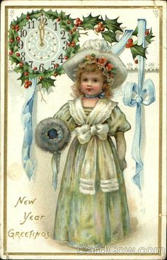 New Year Greetings New Year Greetings Series 600 Little Girl with Clock and Holly