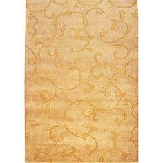 Hand-tufted Alexa Pino Collection Scroll Vines Gold Rug (76 x 96), $317.99  #RugsUSA