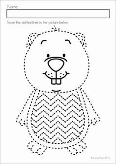 Groundhog Day Preschool Math and Literacy No Prep worksheets and activities. A page from the unit: Pre-writing tracing practice