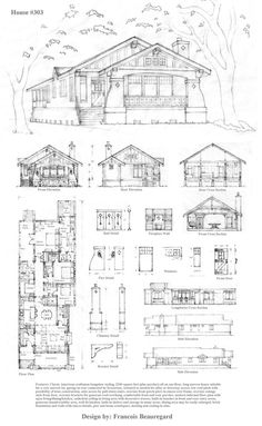 Sketch plans for a one-story craftsman bungalow suitable for a narrow lot, drawn in pencil (mostly HB.)