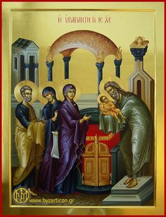 Presentation of Christ in the Temple Byzantine Icons, Byzantine Art, Religious Icons, Religious Art, Jesus In The Temple, Orthodox Icons, Kirchen, Prayers, Presentation