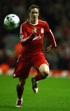 Fernando Torres of Liverpool in action during the UEFA Champions League Round of Sixteen Second Leg match between Liverpool and Real Madrid at...
