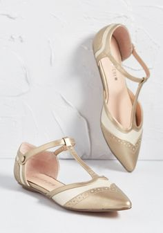 95e9343a8 Chelsea Crew It s Decided T-Strap Flat Bronze 1950s Fashion Shoes