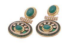 Green Stone #Kundan Work #Earrings | Code - ER-5