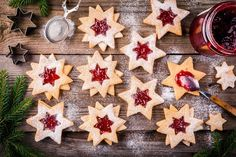 Christmas Linzer cookies with raspberry jam by nblxer. Christmas Linzer cookies with raspberry jam on a rustic wooden background #Affiliate #cookies, #raspberry, #Christmas, #Linzer