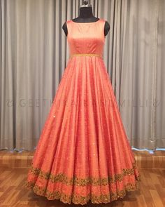 Beautiful floor length designer anrkali dress with sleeve less. Anarkali with hand embroidery gold thread and zardosi work.