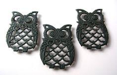 3 Vintage Owl Trivets  Metal Owl Trivets  by BohemianGypsyCaravan