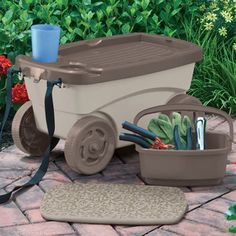Garden storage scooter with a foam cushion. Includes two drink holders and a small interior bin.  Product: Storage scooter