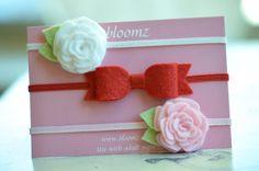 Felt Bow Headband and Tiny Felt Flowers Headband Gift by bloomz, $12.95