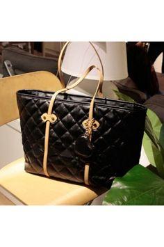 25.99 Black Faux Leather Quilted Design Handbag  MayKool Discount Designer  Handbags, Replica Handbags, 1c570f4474