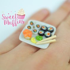 ring sushiMiniature Food Polymer Clay Miniatures Fake Food