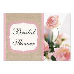 Pink Peony Burlap Bridal Shower Invitation