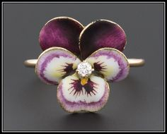 Vintage Enamel & Diamond Pansy Ring, 14k Purple Enamel Flower Ring by TrademarkAntiques on Etsy
