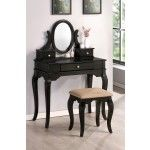 Poundex Furniture - Black Vanity With Stool - F4062  SPECIAL PRICE: $399.00