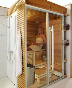People have been enjoying the benefits of saunas for centuries. Spending just a short while relaxing in a sauna can help you destress, invigorate your skin Home Spa Room, Spa Rooms, Sauna Steam Room, Sauna Room, Saunas, Basement Sauna, Sauna Design, Design Design, Interior Design