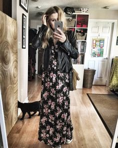 livelovesara - My life in a blog by Sara Watson. Black floral maxi dress+black and white sneakers+camel suede shoulder bag+black leather jacket. Fall Outfit 2016