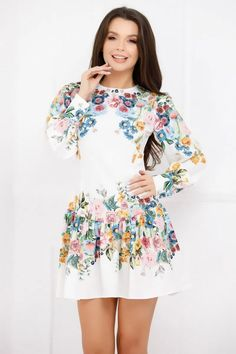 Rochie Pony alba cu imprimeu floral colorat - Smart Shopping Online Pony, Blouse, Long Sleeve, Floral, Skirts, Sleeves, Shopping, Women, Fashion