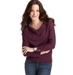 Drape Neck 3/4 Sleeve Sweater in Deep Raisin via Loft, $49.50