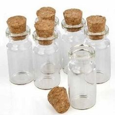 """Amazon.com: Package of 24 Small Mini Glass Jars with Cork Stoppers - Size: 1-1/2"""" Tall X 3/4 Inches Diameter: Kitchen & Dining"""