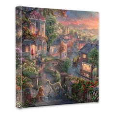 Lady and the Tramp - 14 x 14 Gallery Wrapped Canvas by Thomas Kinkade