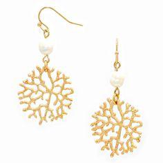 "Pretty gold coral hangs below freshwater pearls. Earrings are 2"" Long."