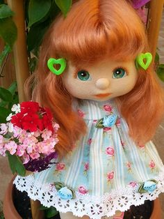 Arancia my child doll - redhead v part, aqua eyes and peach make up