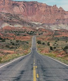 A Very Long Road # Road, Long, Distance, Route 66, Lonely, Desert, Mountain