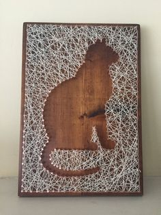 Cat Copper Nail String Art by BoundAsOne on Etsy