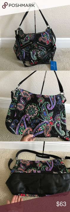 """Vera Bradley Signature Print Vivian Hobo & Wallet Like new. In great condition.color Kiev paisley Wallet: zip-around closure, eight credit card slots, two bill slots, ID slot, center change slot with zip closure, Approximate measurements: Hobo bag 16""""W x 10-1/2""""H x 5""""D with a 10"""" handle and a 19"""" to 23"""" strap drop; weighs approximately 1 lb, 6 oz; Wallet 7-3/4""""W x 4-1/4""""H x 3/4""""D Hobo bag: face/fill 100% cotton; lining/trim 100% polyurethane Wallet: face 100% cotton; fill 100% polyurethane…"""
