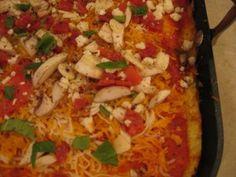 Cauliflower crust pizza - so yummy!