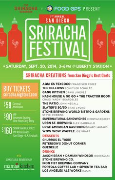 1st Annual San Diego Sriracha Festival — Saturday, September 20, 2014 at Liberty Station. This chef-driven, all-inclusive, 21+ event from The Sriracha Cookbook and Food GPS spotlights the world's most iconic hot sauce at a unique, historical venue. Tickets at http://sriracha.nightout.com #SrirachaFest
