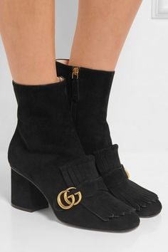 God I love a boot!! These are great. Gucci | Fringed suede ankle boots | NET-A-PORTER.COM