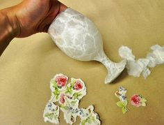 Step 2b. How to decoupage on glass with rice paper