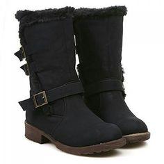 """Stylish Mid-Calf and Buckle Design Women's Snow Boots. Colors: Black. Size: 37. SKU: WWZLIGJTG03 Price: US$45.59 | PKR… #Vivoren #Fashion"