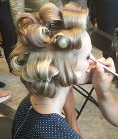 Steven had given in to his fate. His long blonde hair setting on rollers, his girlfriend now doing his make up after she'd dressed him one of her favorite polka dot dresses Hair Curlers Rollers, Hair Setting, Pin Curls, Curled Hairstyles, Blonde Hair, Natural Hair Styles, Hair Makeup, Hair Beauty, Grease Sandy
